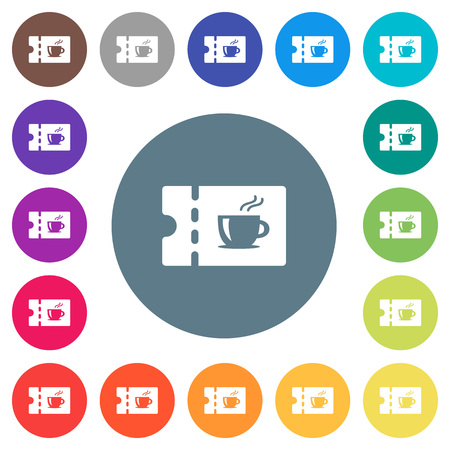 Coffee house discount coupon flat white icons on round color backgrounds. 17 background color variations are included. Illustration