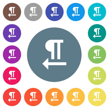 Right to left text direction flat white icons on round color backgrounds. 17 background color variations are included.