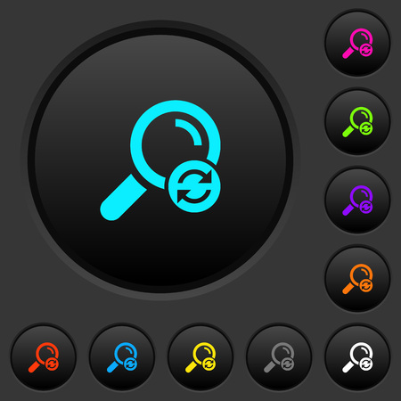 Reset search dark push buttons with vivid color icons on dark grey background