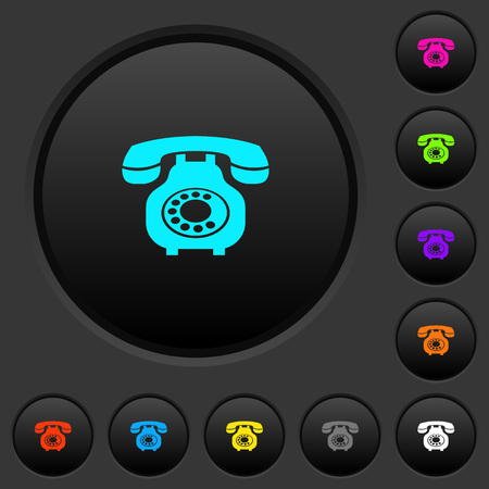 Vintage retro telephone dark push buttons with vivid color icons on dark grey background