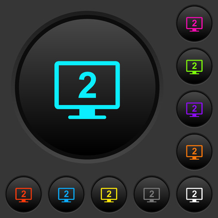 Secondary display dark push buttons with vivid color icons on dark grey background