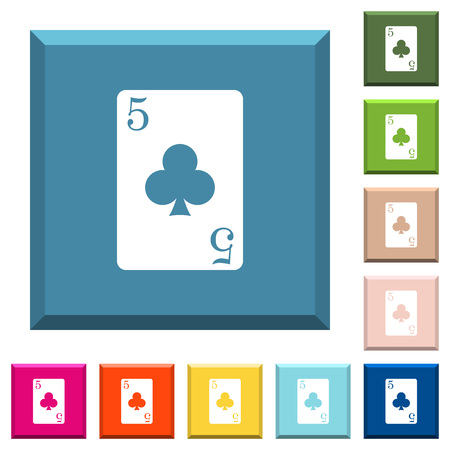 five of clubs card white icons on edged square buttons in various trendy colors