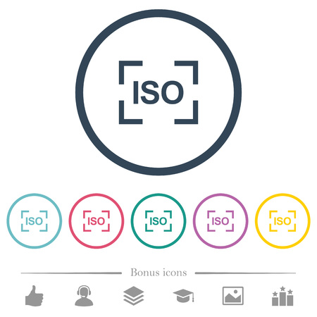 Camera iso speed setting flat color icons in round outlines. 6 bonus icons included.