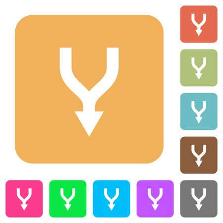 Merge arrows down flat icons on rounded square vivid color backgrounds. Archivio Fotografico - 110360208