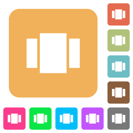 View carousel flat icons on rounded square vivid color backgrounds.