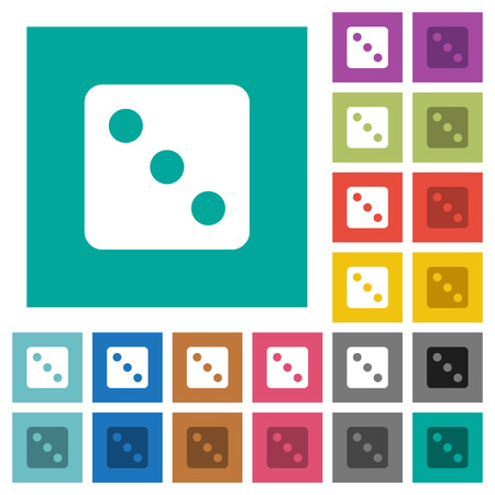 Dice three multi colored flat icons on plain square backgrounds. Included white and darker icon variations for hover or active effects.