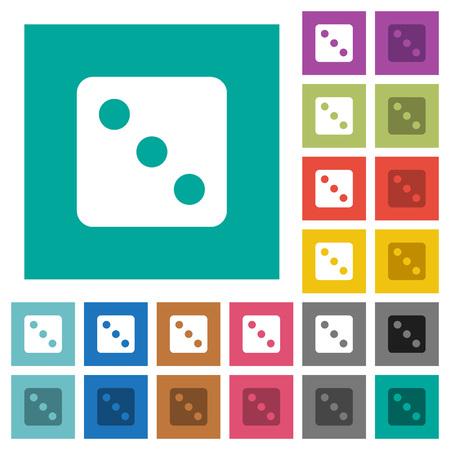 Würfeln Sie drei mehrfarbige flache Symbole auf einfarbigen quadratischen Hintergründen. Enthaltene weiße und dunklere Symbolvariationen für Hover- oder aktive Effekte.