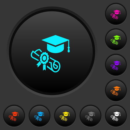 Graduation ceremony dark push buttons with vivid color icons on dark grey background