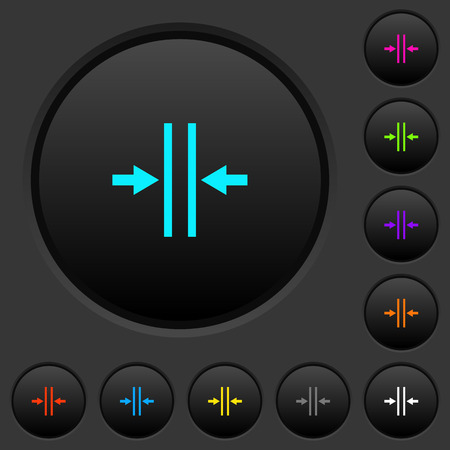 Adjust text column gutter dark push buttons with vivid color icons on dark grey background