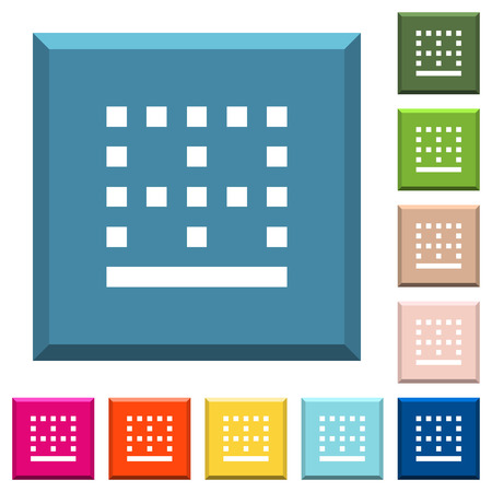 Bottom border white icons on edged square buttons in various trendy colors Illustration