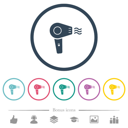 Hairdryer flat color icons in round outlines. 6 bonus icons included.