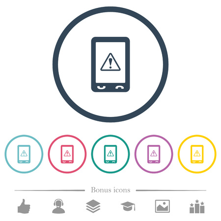 Mobile warning flat color icons in round outlines. 6 bonus icons included.