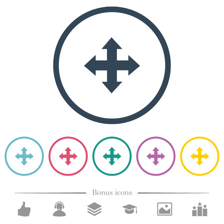 Move tool flat color icons in round outlines. 6 bonus icons included.