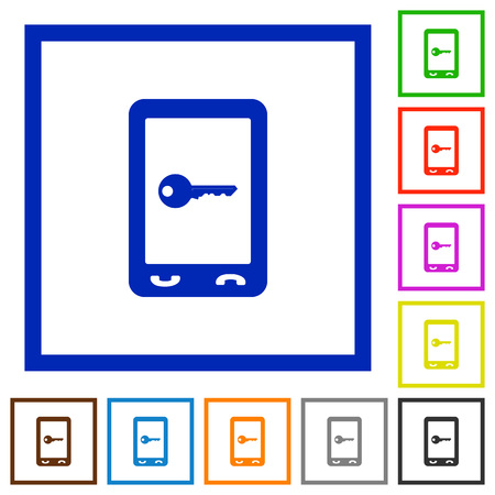 Mobile secure flat color icons in square frames on white background Illustration
