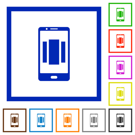 Setting up mobile homescreen flat color icons in square frames on white background