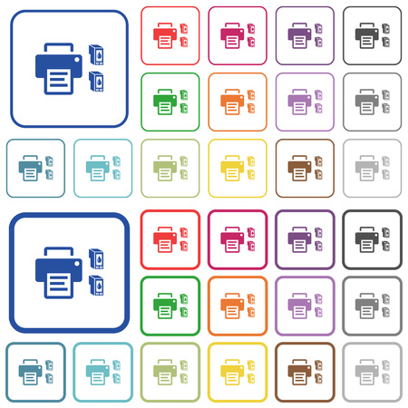 Printer and ink cartridges color flat icons in rounded square frames. Thin and thick versions included. 版權商用圖片 - 107749198