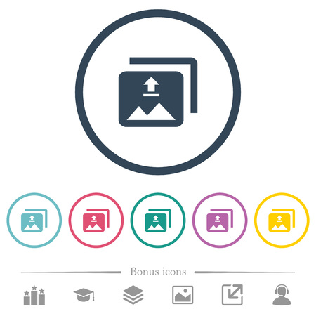 Upload multiple images flat color icons in round outlines. 6 bonus icons included. Standard-Bild - 110273327