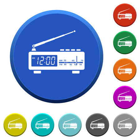 Vintage radio clock round color beveled buttons with smooth surfaces and flat white icons
