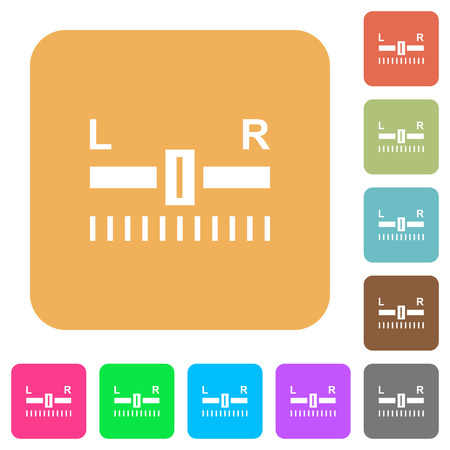 Audio balance control flat icons on rounded square vivid color backgrounds. Illustration