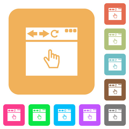 Browser pointer cursor flat icons on rounded square vivid color backgrounds.