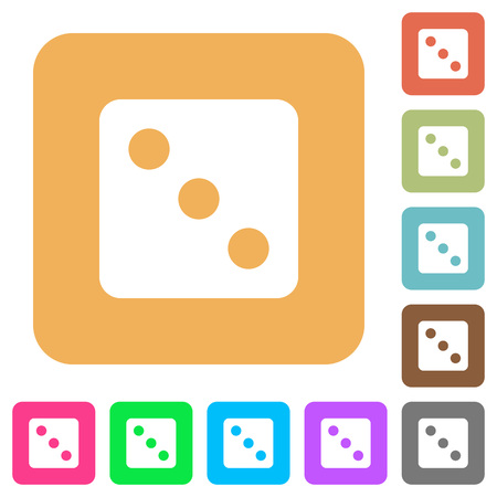 Dice three flat icons on rounded square vivid color backgrounds.
