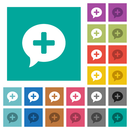 Add comment multi colored flat icons on plain square backgrounds. Included white and darker icon variations for hover or active effects. Stock Illustratie