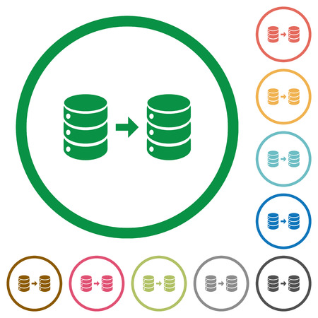 Database mirroring flat color icons in round outlines on white background