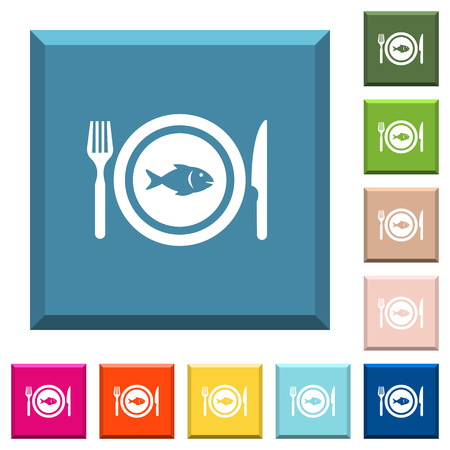 Fish for lunch white icons on edged square buttons in various trendy colors