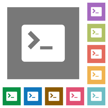 Command terminal flat icons on simple color square backgrounds
