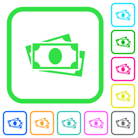 More banknotes with portrait vivid colored flat icons in curved borders on white background  イラスト・ベクター素材