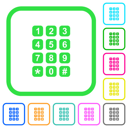 Numeric keypad vivid colored flat icons in curved borders on white background