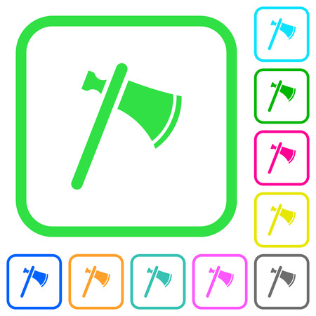 Single tomahawk vivid colored flat icons in curved borders on white background Illustration