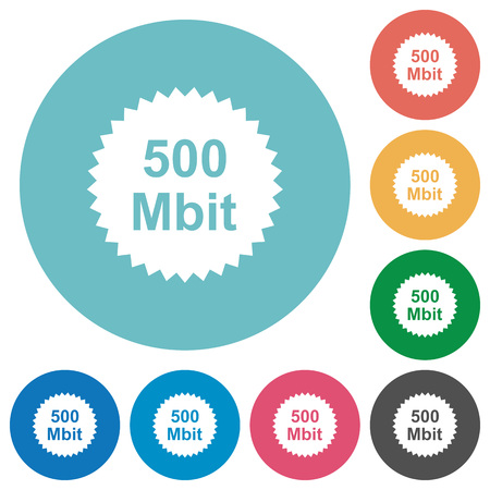 500 mbit guarantee sticker flat white icons on round color backgrounds
