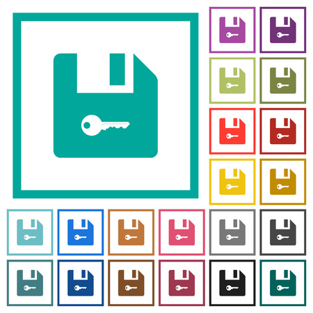 Encrypt file flat color icons with quadrant frames on white background