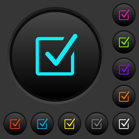 Checked box dark push buttons with vivid color icons on dark grey background