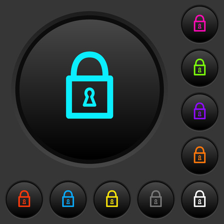 Locked padlock with keyhole dark push buttons with vivid color icons on dark grey background