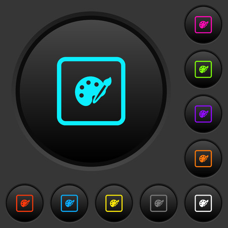 Adjust object color dark push buttons with vivid color icons on dark grey background