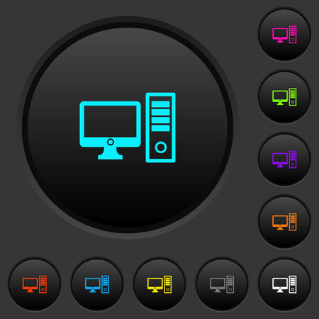Desktop computer dark push buttons with vivid color icons on dark grey background