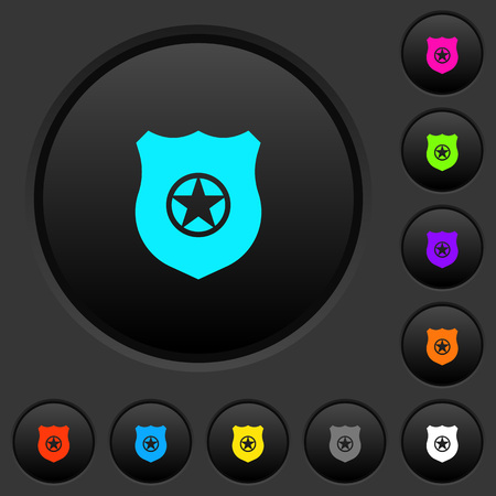 Police badge dark push buttons with vivid color icons on dark grey background