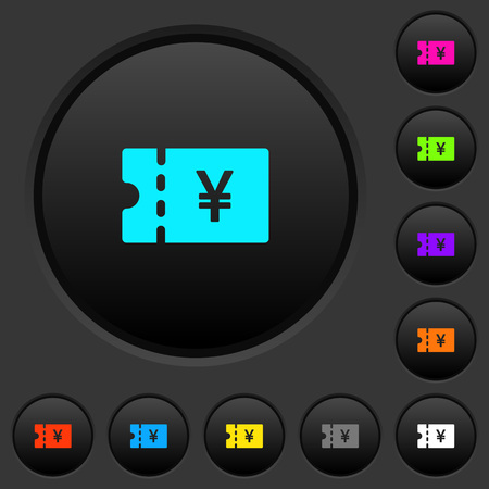 Japanese Yen discount coupon dark push buttons with vivid color icons on dark grey background