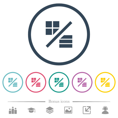 View mode flat color icons in round outlines. 6 bonus icons included.