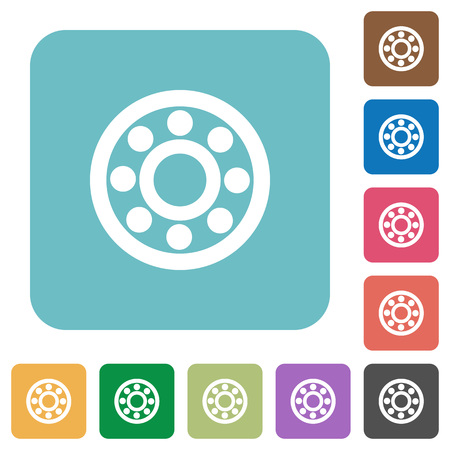 Bearings white flat icons on color rounded square backgrounds Illustration