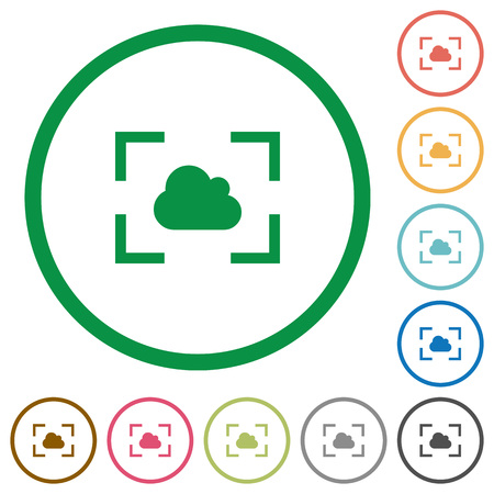 Camera white balance cloudy mode flat color icons in round outlines on white background