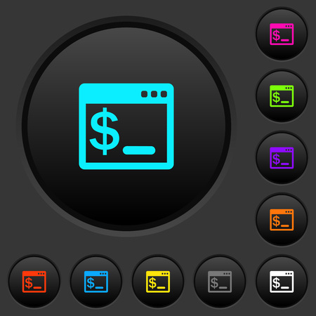 OS command terminal dark push buttons with vivid color icons on dark grey background Illustration