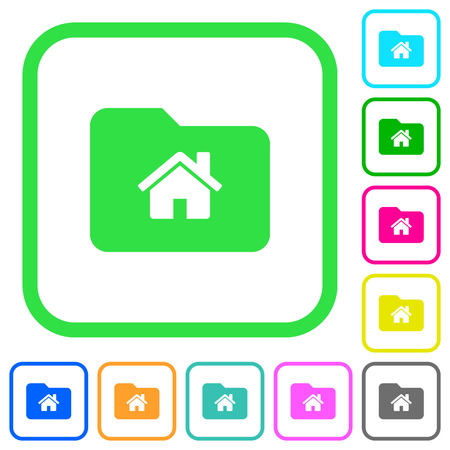 Home folder vivid colored flat icons in curved borders on white background