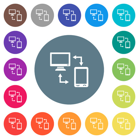 Syncronize mobile with computer flat white icons on round color backgrounds. 17 background color variations are included.