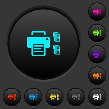 Printer and ink cartridges dark push buttons with vivid color icons on dark grey background