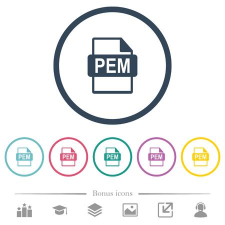 PEM file format flat color icons in round outlines. 6 bonus icons included. Illusztráció