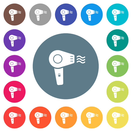 Hairdryer flat white icons on round color backgrounds. 17 background color variations are included.