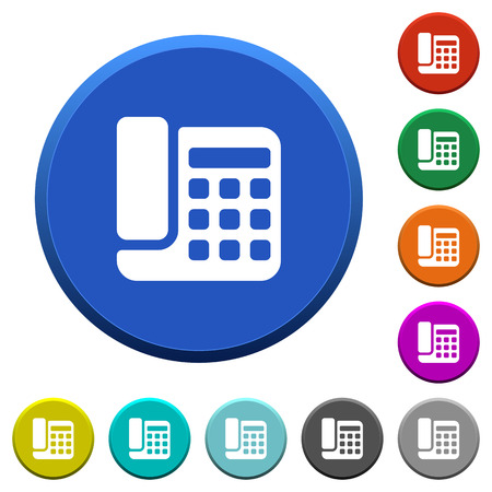 Office phone round color beveled buttons with smooth surfaces and flat white icons